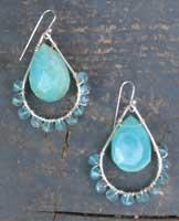 E11-LO-02-60T Peruvian Opal & Apatite earrings in Sterling Silver